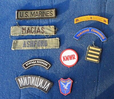 10 mixed Military insignia patches and names LOT WW II to present