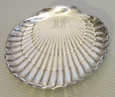 "antique Gorham STERLING SILVER SHELL DISH 6"" fancy scallop footed mono McW 158g"