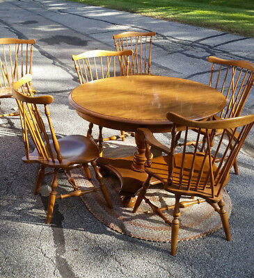 Vintage Ethan Allen mid century colonial solid maple 7pc dining