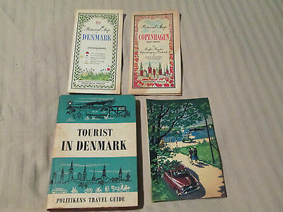 Vintage Denmark Travel Guide Book With 3 Maps, Politikens 1963.