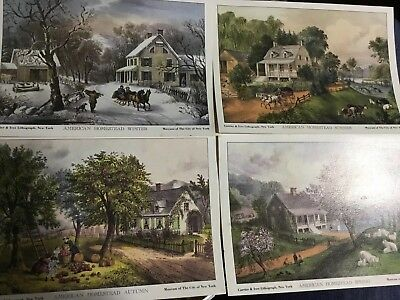 4 Vintage Currier and Ives Lithographs American Homestead The Four Seasons