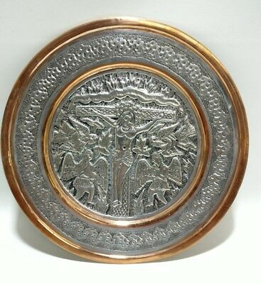 Jesus Christ Crucified Metal Silver And Copper Colored Collection Plate