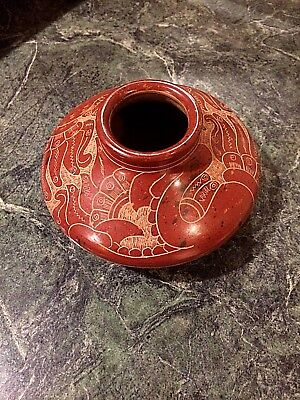 Etched Red Clay Folk Art  Pottery vase
