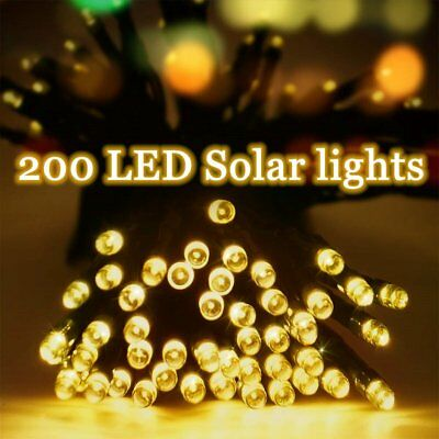 200 LED Solar String Lights Waterproof Wire Fairy Xmas Outdoor &Garden YELLOW