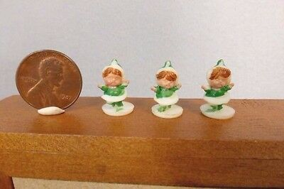 3 vtg TINY green elf girl miniature plastic Christmas figures dollhouse crafts