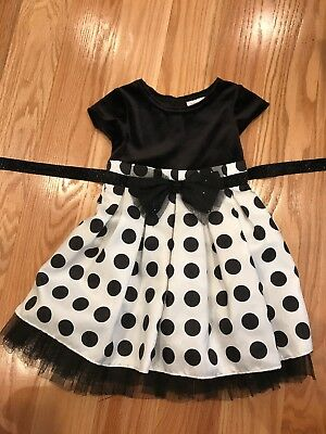 Size 3T Girls Christmas Dress, Party Dress, Sparkly Bow And Tie, Free Ship