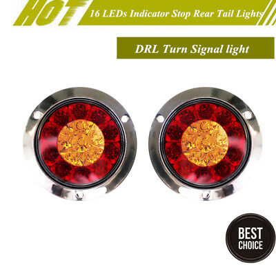 New 16Led Red+Yellow Indicator Stop Rear Tail Lights Reverse Turn Signal Light