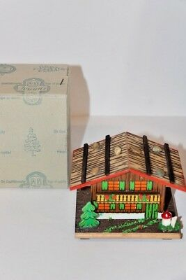 Vintage West German Wooden House Bank w/key in Original Box