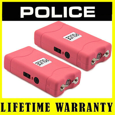 (2) POLICE PINK 800 Mini Stun Gun Self Defense Wholesale Lot