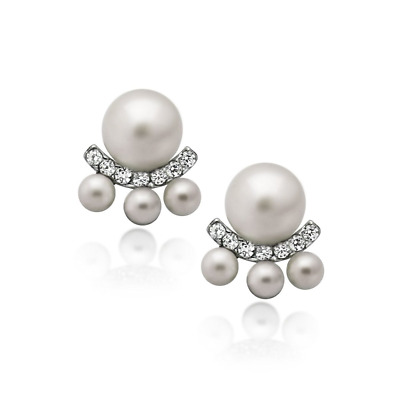 4mm & 6mm 925 Sterling Silver Pearl stud Earrings Jacket Simulated Shell Pearl