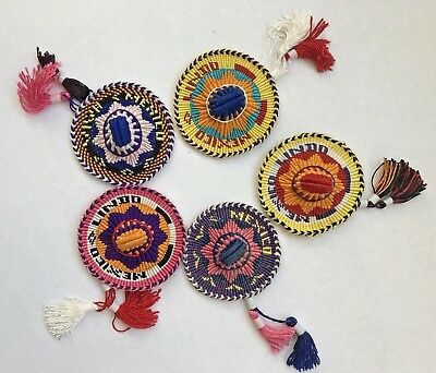 Lot of 5 Colorful Intricate Handmade Sombrero Ornaments Mexico with Tassels
