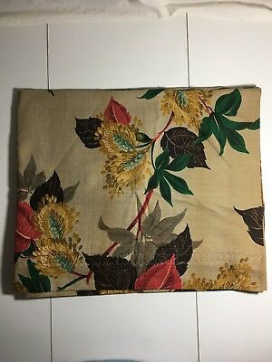 Vintage Curtain Floral Yellow and Blue on Light Brown