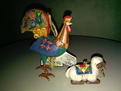 2 Jim Shore Chicken/Rooster & Sheep/Lamb Christmas Ornament