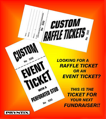 2000 RAFFLE TICKETS - Custom Printed, Numbered & Perforated Card Stock