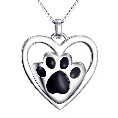 Pendant Necklace 18 inch Box Chain 925 Sterling Silver Puppy Paw Pet Love Heart