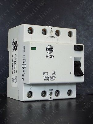 Wylex WRS100/4 4P 100A 30mA RCD RCCB Circuit Breaker - TESTED - Free Delivery