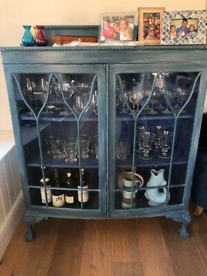 Unique Vintage Shabby Chic Glass Display / Drinks Cabinet Annie Sloan Painted