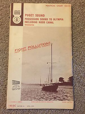 1974 Nautical Chart Puget Sound Including Hood Canal Possession Sound to Olympia