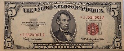 1953 C $5 United States Note Red Seal *Star Note* FR#1535* uncirculated