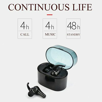 1 Pair Wireless Bluetooth Earphones Stereo Handsfree Earbuds with Charging Bo HZ