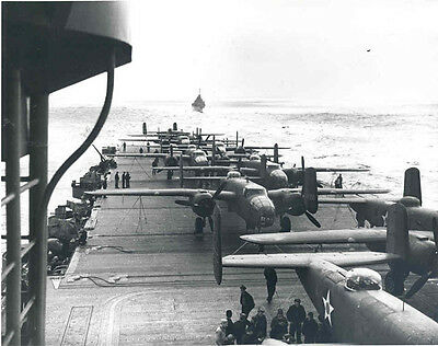 WWII Photo Doolittle Raid  Launch USS Hornet WW2 World War Two Tokyo US Navy