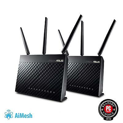 ASUS AC1900 RT-AC68U 2-Pack Whole Home Dual-Band Ai Mesh WiFi Router, NEW SEALED
