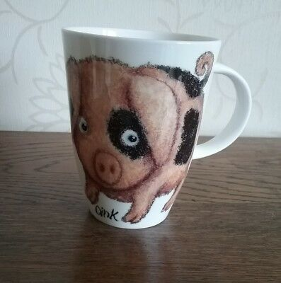 Please shut the gate Oink latte Mug Owl handle Roy Kirkham fine bone china  Pig