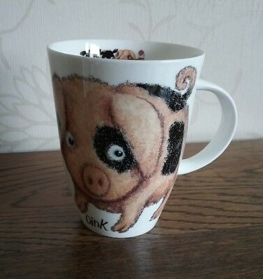 Please shut the gate Oink Mug Owl handle Roy Kirkham fine bone china 2003 Pig