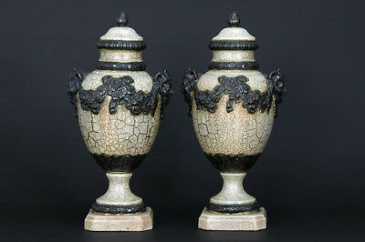 PAIR XL ceramic Faience craquele VASES satyr devil heads 1930 French
