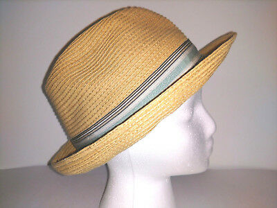 2d742174abe STETSON FEDORA Mens Hat Size M Medium Toyo Straw Look with Stripped Band