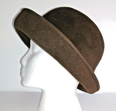 ERIC JAVITS HAT Bowler Womens Brown Felt Wool One Size 4f0a9cdba6e