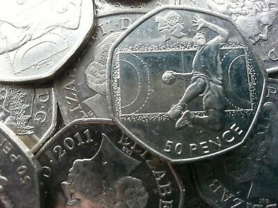 Olympic 50p. London 2012. HANDBALL. Hand Ball. Fifty pence. Circulated.