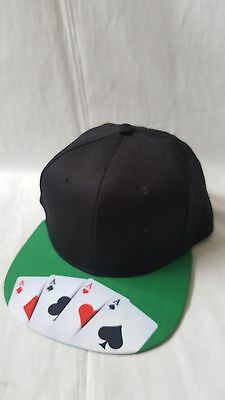 Baseball Hat Snapback Cap Black with Aces Cards Design Teen Adult One Size