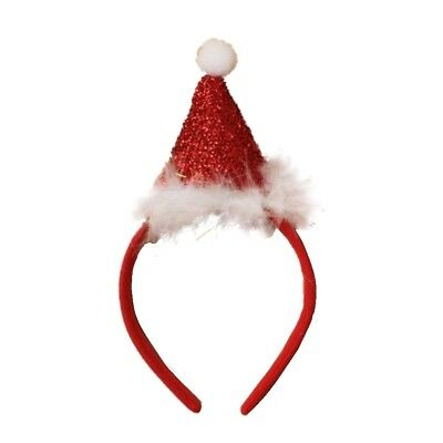 Zest Christmas Red Satin Alice Band with Sparkly Santa Hat with Bells