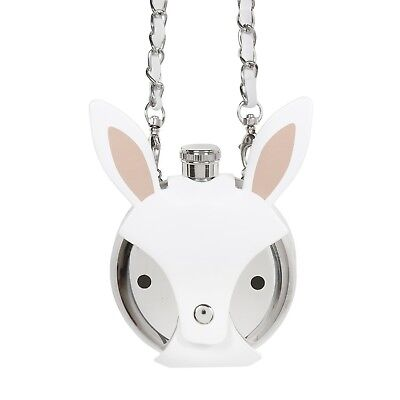 5 oz. Stainless Steel Animal Flask - Faux Leather Crossbody Purse - White Bunny