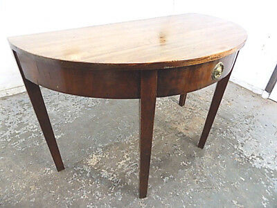antique,georgian,demi lune,mahogany,table,drawer,square,tapered legs,hall table