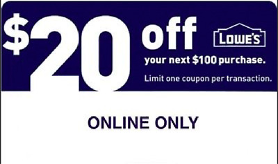 Special offer:::One(1X) Lowes $20 off $100 1Coupon