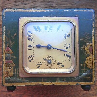 Beautiful Antique French Brevete SGDG Lacquered Chinoiserie Mantel Clock REPAIRS