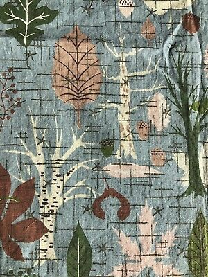 Vintage 50s Abstract Fabric Barkcloth Material Mid Century Modern Textile Atomic