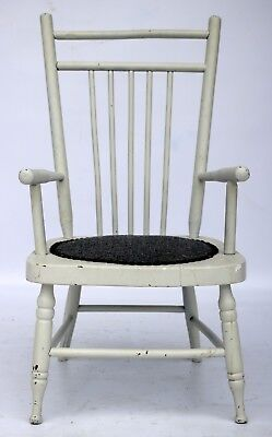 Antique Victorian Spindle Back Hobnail Seat Cushion Childrens Wood Arm Chair