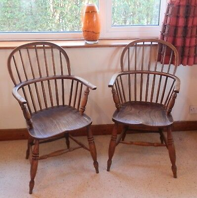 Windsor Armchairs 19th Century Lincolnshire Stick Elm & Ash His and Hers chairs