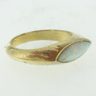 Estate Vintage Womens 14k Sterling Silver 925 Inlaid Opal Ladys Band Ring