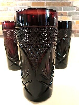 Cristal D'Arques Durand Antique Red Ruby Cooler Glasses 12 Oz. Lot Of 4 Perfect
