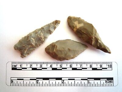 Neolithic Spearheads x 3 - Saharan Flint Artifacts - 4000BC  (2179)