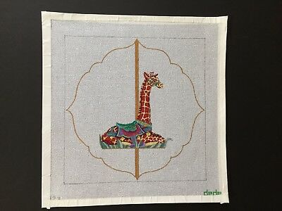 Dede Hand-painted Needlepoint Canvas Bright & Colorful Carousel Giraffe