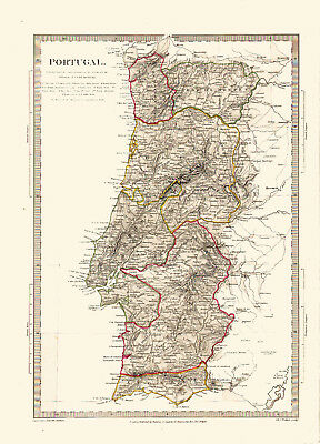 1832 SDUK Map of PORTUGAL - Some Hand Coloring  - Detailed - Outstanding