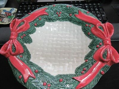1991 Fitz And Floyd Christmas Wreath Canape Basket Weave Plate Candy Dish 10 In