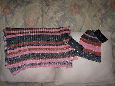 Zara Accessories Pink/multi Soft Stretch Long Scarf/beanie Hat Matching Set Bnwt