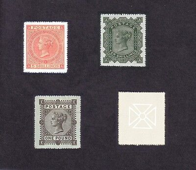 Queen Victoria 1867-83 High Values Set (Sg126-128-129 Forgeries)