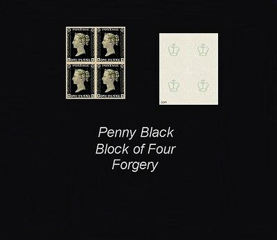 Penny Black Block of 4 (forgeries)
